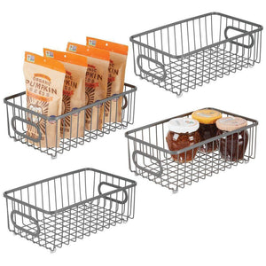 Storage mdesign metal farmhouse kitchen pantry food storage organizer basket bin wire grid design for cabinet cupboard shelves countertop closet bedroom bathroom small wide 4 pack graphite gray