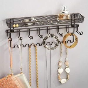 Great mdesign decorative metal closet wall mount jewelry accessory organizer for storage of necklaces bracelets rings earrings sunglasses wallets 8 large 11 small hooks 1 basket bronze