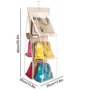 Discover the vercord 6 pocket hanging purse handbag tote storage holder organizer dust proof closet wardrobe hatstand space saver beige