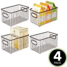Load image into Gallery viewer, Buy now mdesign metal farmhouse kitchen pantry food storage organizer basket bin wire grid design for cabinets cupboards shelves countertops closets bedroom bathroom 10 long 4 pack bronze