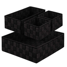 Load image into Gallery viewer, Budget friendly kedsum woven storage box cube basket bin container tote cube organizer divider for drawer closet shelf dresser set of 4 black