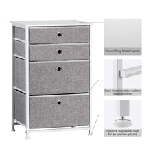 Load image into Gallery viewer, Featured langria faux linen home dresser storage tower with 4 easy pull drawers sturdy metal frame and wooden tabletop perfect organizer for guest room dorm room closet hallway office area gray