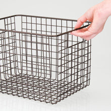 Load image into Gallery viewer, Amazon best mdesign large farmhouse deco metal wire storage organizer basket bin with handles for organizing closets shelves and cabinets in bedrooms bathrooms entryways hallways 8 high 4 pack bronze