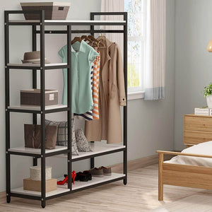 Best seller  little tree free standing closet organizer heavy duty clothes rack with 6 shelves and handing bar large closet storage stytem closet garment shelves