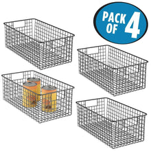 Load image into Gallery viewer, Storage mdesign farmhouse decor metal wire food organizer storage bin basket with handles for kitchen cabinets pantry bathroom laundry room closets garage 16 x 9 x 6 in 4 pack matte black
