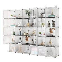 Load image into Gallery viewer, Amazon kousi portable storage shelf cube shelving bookcase bookshelf cubby organizing closet toy organizer cabinet transparent white 30 cubes storage
