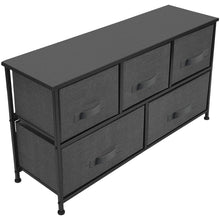 Load image into Gallery viewer, Top rated sorbus dresser with drawers furniture storage tower unit for bedroom hallway closet office organization steel frame wood top easy pull fabric bins 5 drawer black charcoal