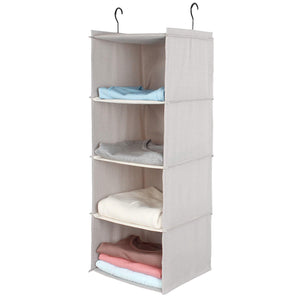 Top rated ishealthy hanging closet organizer 4 shelf cloth hanging shelf houndstooth imitation linen fabric easy mount collapsible foldable hanging closet shelves storage organizer with 2 hooks gray