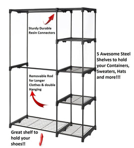 Storage organizer whitmor freestanding portable closet organizer heavy duty black steel frame double rod wardrobe cloths storage with 5 shelves shoe rack for home or office size 45 1 4 x 19 1 4 x 68