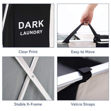 Load image into Gallery viewer, Exclusive qf laundry hamper with 3 sections foldable sorter laundry basket for bedroom laundry room bathroom college apartment and closet