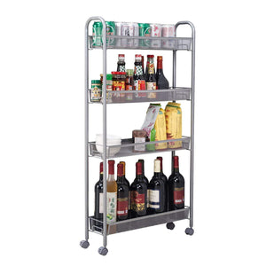 dalilylime 4-Tier Removable Storage Cart, Gap Kitchen Slim Slide Out Storage Tower Rack with Wheels, Cupboard with Casters (Silver, 4 Layers-420s)