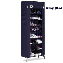 Load image into Gallery viewer, Online shopping bluefringe shoe rack with dustproof cover shoe closet shoe cabinet storage organizer dustproof 27 pairs shoe cabinet multi function shelf organizer navy blue 10 tier