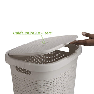 Latest mind reader 50hamp ivo 50 liter hamper laundry basket with cutout handles washing bin dirty clothes storage bathroom bedroom closet ivory