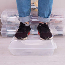 Load image into Gallery viewer, Shop baoyouni clear shoe box closet corner storage case holder dust proof breathable organizer saving space stackable with lid for flats athletic shoes sandals heels sneakers pack of 5