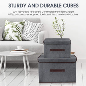 Heavy duty foldable storage boxes with lids 2 set of linen fabric cubes with handles for shelf closet book kid toy nursery organize grey
