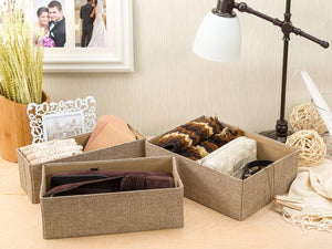 Shop here drawer storage bins set of 3 decorative closet organizer bins fabric drawer dividers easy to open and folds flat for storage great drawer organizer for storing underwear socksbeige