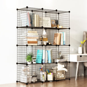 Buy tespo wire cube storage shelves book shelf metal bookcase shelving closet organization system diy modular grid cabinet 12 cubes