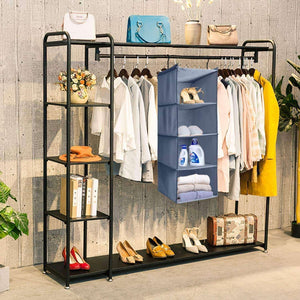 Save ishealthy hanging closet organizer and storage 4 shelf easy mount foldable hanging closet wardrobe storage shelves clothes handbag shoes accessories storage washable oxford cloth fabric gray