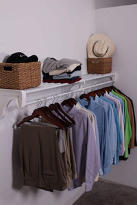 Featured expandable closet rod and shelf units with 1 end bracket finish white
