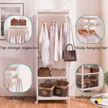 Load image into Gallery viewer, Kitchen free standing armoire wardrobe closet with full length mirror 67 tall wooden closet storage wardrobe with brake wheels hanger rod coat hooks entryway storage shelves organizer ivory white