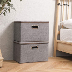 Online shopping storage container organizer bin collapsible large foldable linen fabric gray box with removable lid and handles for home baby office nursery closet bedroom living room no peculiar smell 1 pack