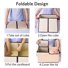 Load image into Gallery viewer, Save on larger storage cubes 4 pack senbowe linen fabric foldable collapsible storage cube bin organizer basket with lid handles removable divider for home office nursery closet 17 7 x 11 8 x 9 8