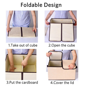 Save on larger storage cubes 4 pack senbowe linen fabric foldable collapsible storage cube bin organizer basket with lid handles removable divider for home office nursery closet 17 7 x 11 8 x 9 8
