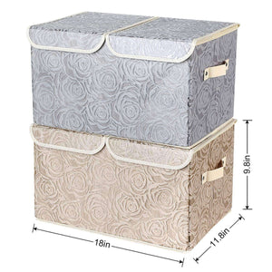 Discover 2 pack drawer organization large linen 2 sections washable storage with lids and handles foldable closet organizer for nursery closet clothes toy home office bedroom grey khaki18 x 9 8