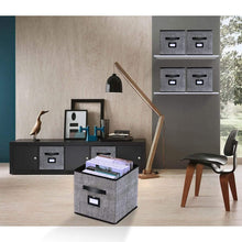 Load image into Gallery viewer, Top rated onlyeasy foldable cloth storage bins cubes box set of 6 home closet cubby bookcase nursery drawers organizers with label holders and dual leather handles 12x12x12 inch linen like black 7mxab06plp