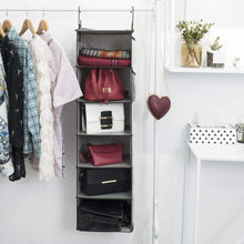Load image into Gallery viewer, Heavy duty storageworks hanging closet organizer 6 shelf closet organizer 2 ways dorm closet organizers and storage sweater organizer for closet gray 12x12x42 inches