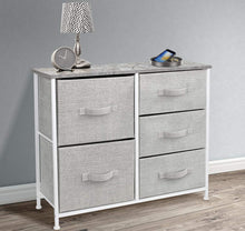 Load image into Gallery viewer, Order now sorbus dresser with 5 drawers furniture storage tower unit for bedroom hallway closet office organization steel frame wood top easy pull fabric bins gray