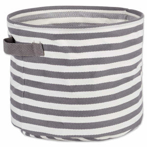 Storage dii fabric round room nurseries closets everyday storage needs asst set of 3 gray stripe laundry bin assorted sizes