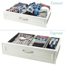 Load image into Gallery viewer, Buy now foldable closet drawer organizer set of 3 storage containers moisture and dust proof storage baskets beautiful textured fabric sturdy build perfect for home and office gray birch