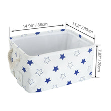 Load image into Gallery viewer, Shop for storage bin zonyon rectangular collapsible linen foldable storage container baby basket hamper organizer with rope handles for boys girls kids toys office bedroom closet gift basket blue star