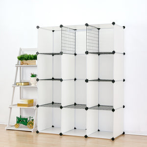 Save on unicoo multi use diy plastic 12 cube organizer toy organizer bookcase storage cabinet wardrobe closet white with door sticker deeper cube white