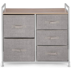 Amazon best happybuy 5 drawer storage organizer unit with fabric bins bedroom play room entryway hallway closets steel frame mdf top dresser storage tower fabric cube dresser chest cabinet beige tall