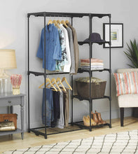 Load image into Gallery viewer, Shop here whitmor freestanding portable closet organizer heavy duty black steel frame double rod wardrobe cloths storage with 5 shelves shoe rack for home or office size 45 1 4 x 19 1 4 x 68