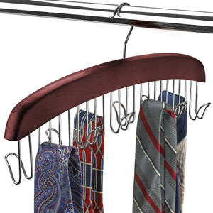 Related floridabrands scarf and tie hanger closet organizer and 12 hook wooden tie rack hanger for space saving solution and perfect space saving closet makeover mahogany color