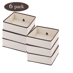 Selection ybm home fabric closet dresser drawer storage foldable organizer cube basket containers bin for underwear socks bras tights scarves ties leggings lingerie natural brown trim 2206 6 6 large