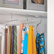 Load image into Gallery viewer, Organize with interdesign axis closet storage organizer rack for ties and belts chrome
