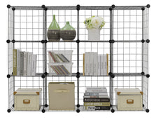 Load image into Gallery viewer, Explore finnhomy 12 storage cubes multi use diy wire grid organizer closet organizer shelf cabinet wire grids panels garage storage rack sets shelving units for books plants toys shoes clothes black