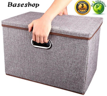 Load image into Gallery viewer, Heavy duty storage container organizer bin collapsible large foldable linen fabric gray box with removable lid and handles for home baby office nursery closet bedroom living room no peculiar smell 1 pack