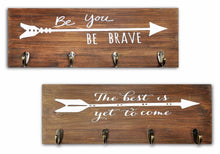 Load image into Gallery viewer, Results spiretro set of 2 wall mount wood plaque metal key hook rack printed arrow sign and inspirational words coat hat bag hang organizer leash holder 16 5 inch for entryway kids room hallway closet rustic teak brown