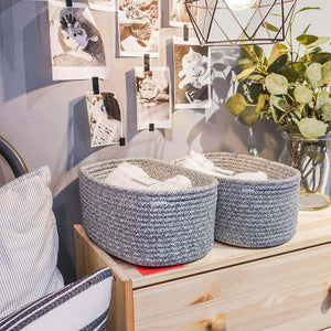 Exclusive goodpick cute cotton rope basket dresser baskets drawer baskets organizer nursery closet storage foldable cloth storage box underwear organizer drawer divider 12 7 5 set of 2