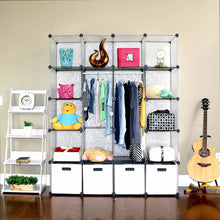 Load image into Gallery viewer, Buy unicoo multi use diy 20 cube organizer wardrobe bookcase storage cabinet wardrobe closet with design pattern deeper cube semitransparent