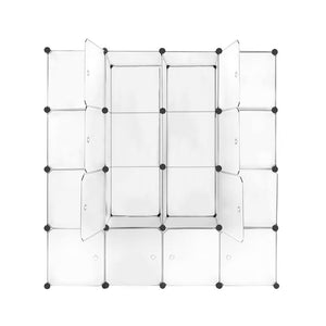 16 Cube Compartment DIY Storage Cabinet Closet Shoe Rack Orgainsier Portable Translucent White