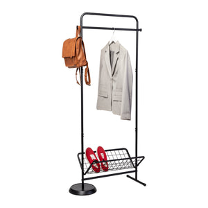 Swivel Coat Rack Valet With Basket, Black