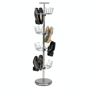 Chrome 4-Tier Revolving Shoe Rack Tree - Holds 24 Pairs