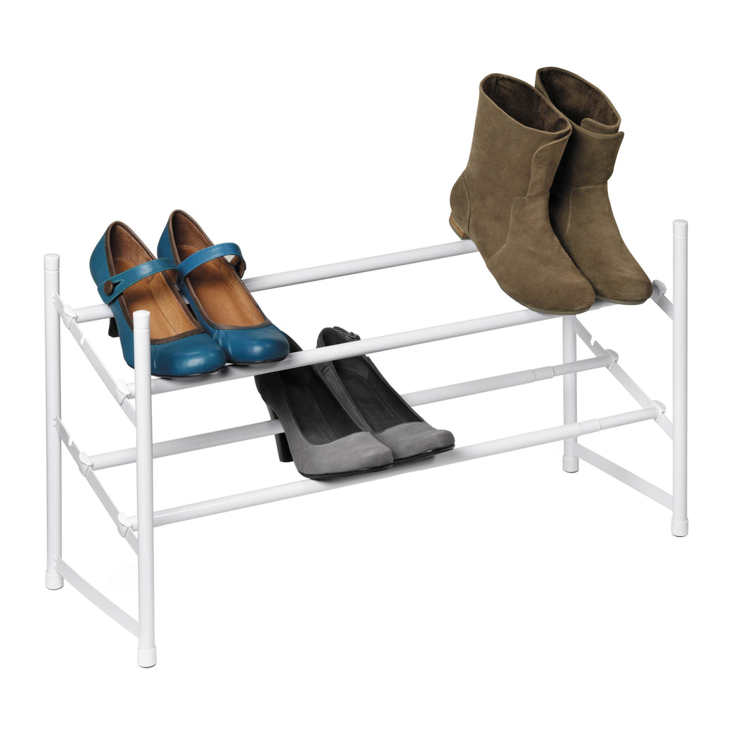 2-Tier Expandable Stackable Shoe Rack, White