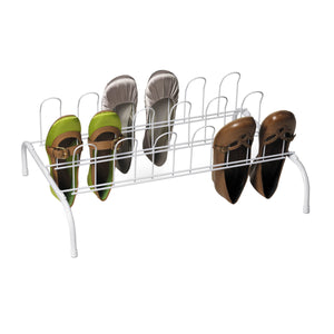 9-Pair Retro-Style Floor Shoe Rack, White